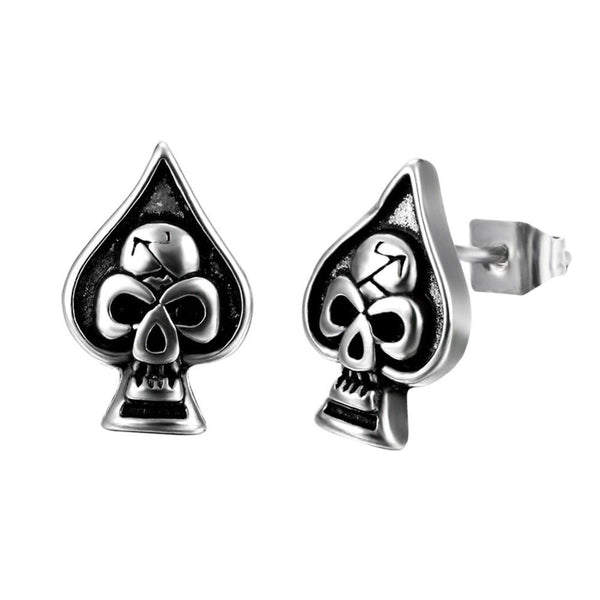 Vintage Spade Shape Skull Stud Earrings