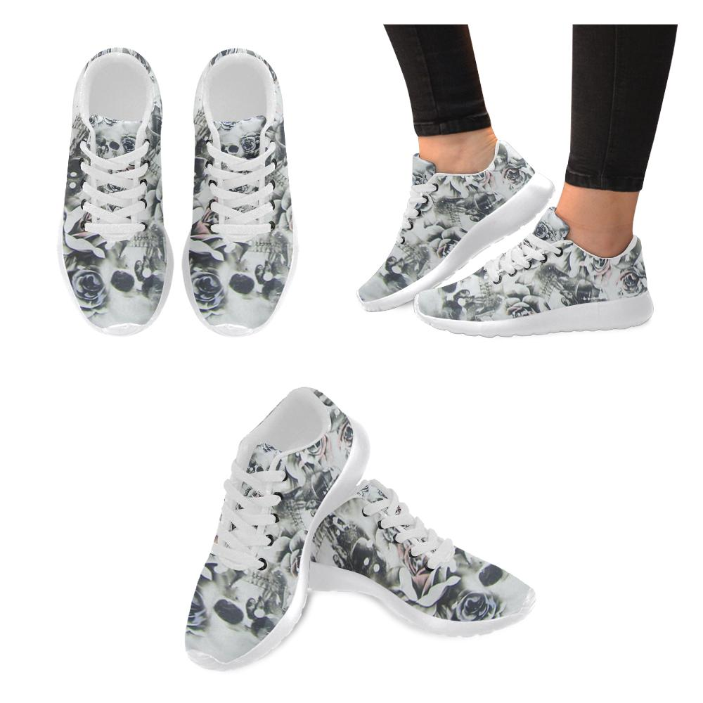 Vintage Flower Skull Printed Women's Sneakers