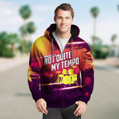 3D Not Quite My Tempo Drummer Unisex Zip up Hoodie 002