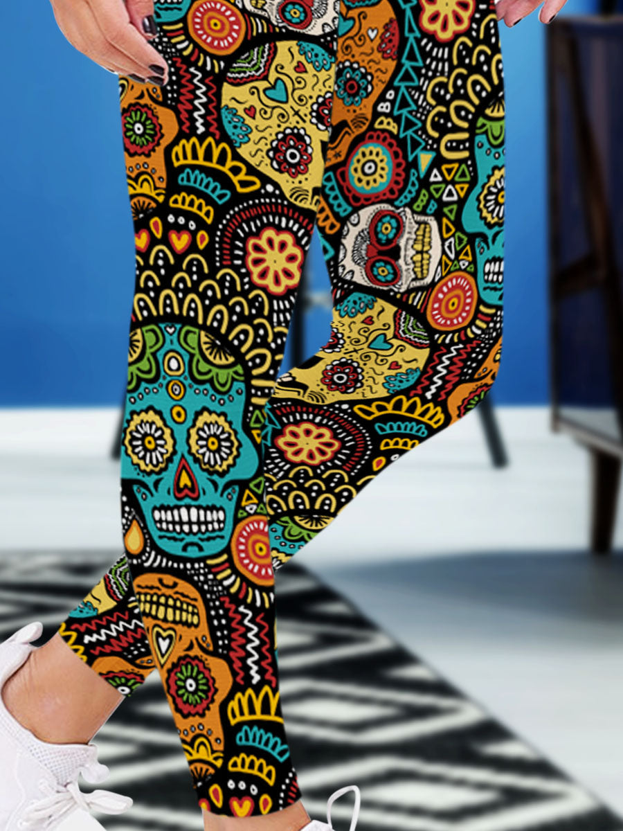 Skull 3D Leggings 02 - designfullprint