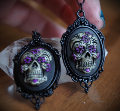 Black and Purple Skull Earring