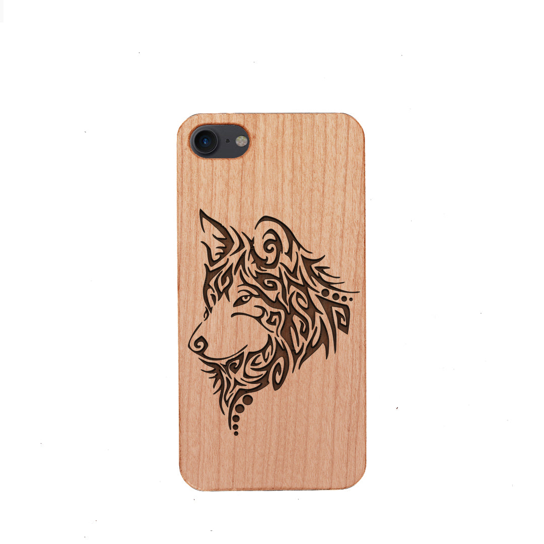 Wood Phone Case for Universal Models -Wolf Face Mandala 007
