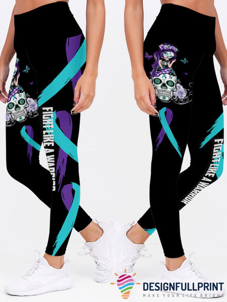 Teal and Purple Fight Like A Warrior™ Sugar Skull Girl Suicide Awareness Premium Leggings