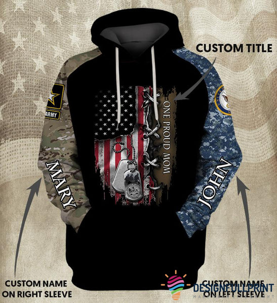 Personalized Double Sleeve Custom  Base US Armed Force US Unisex Size Hoodie