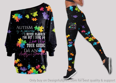 I Am Proud To Be Autism Grandma Off Shoulder Long Sleeve Top and Leggings Set