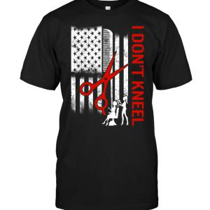 I Don't Kneel Scissors American Flag T-shirt