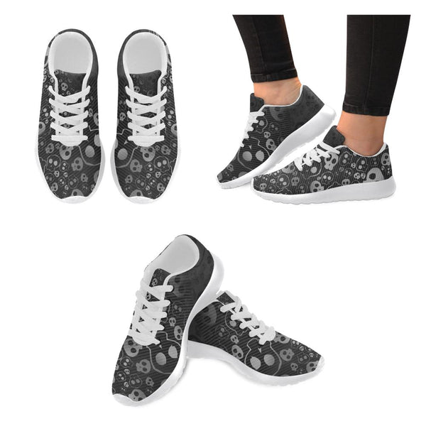B&W Skulls Printed Women's Sneakers