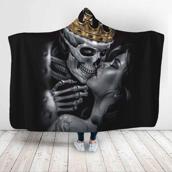 Special Sale: King Skull Couple Skull Lovers Hooded Blanket - designfullprint