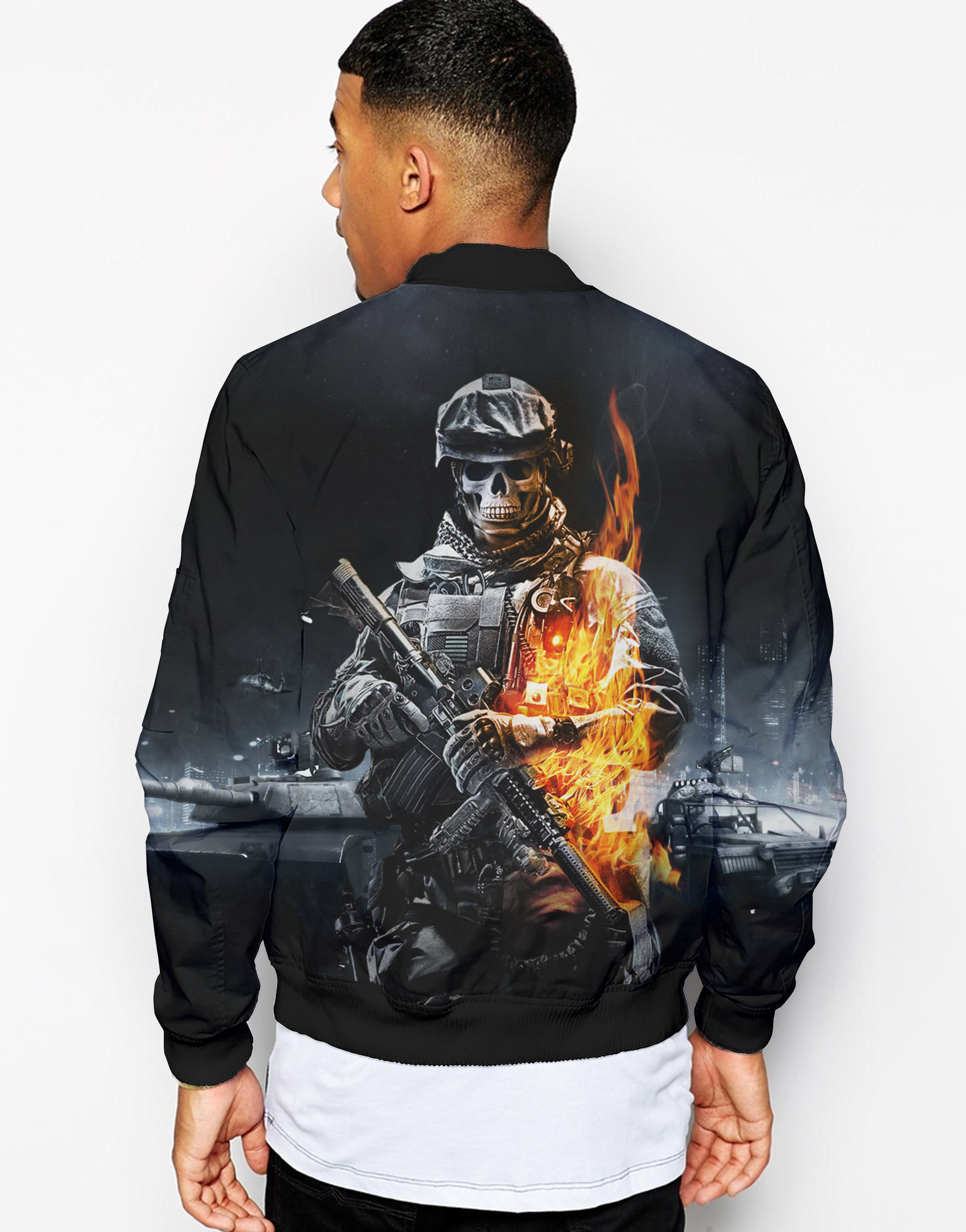 Unisex 3D Bomber Jacket - FireFighter FIRE DEPT. - designfullprint