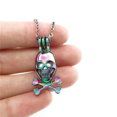 Rainbow Multi-color Skull Beads Cage Locket Pendant Necklace Aroma Essential Oil Diffuser Locket Necklace - designfullprint