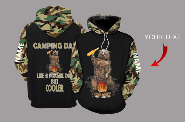 Camping Dad Camo Bear Personalized US Unisex Size Hoodie
