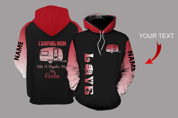 Camping Mom Red Personalized US Unisex Size Hoodie