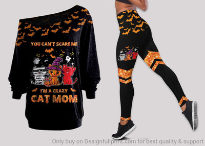Halloween Cat Mom Off Shoulder Long Sleeve Top and Leggings Set