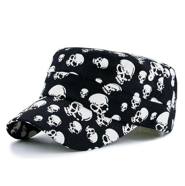 Black Cool Skull Baseball Caps Cotton Casual Flat Hats