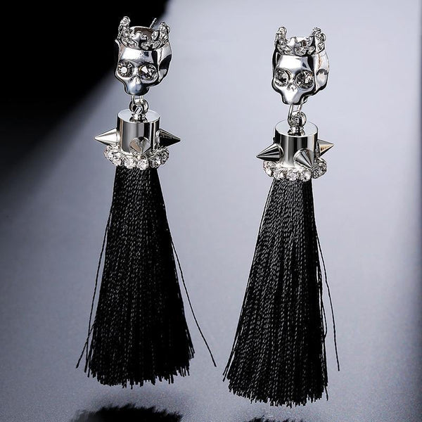 Silver Rivet Skull Long Black Tassel Dangle Earrings - designfullprint