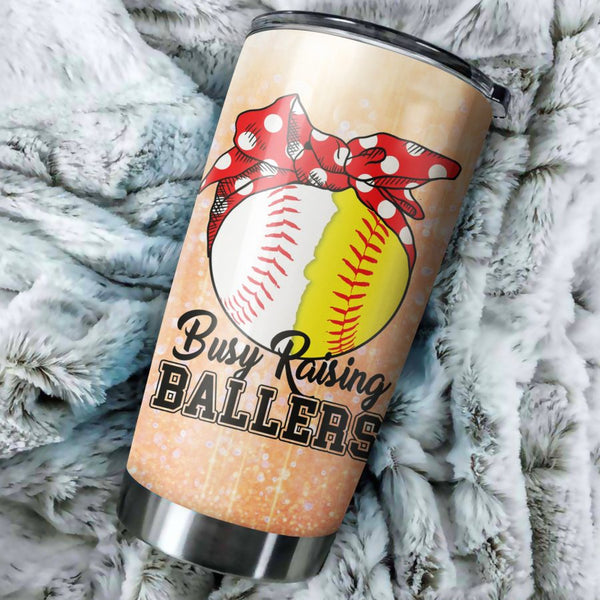 Softball Mom Busy Raising Baller Tumbler