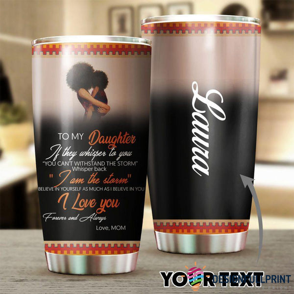 Personalized Black Mom to Daughter Tumbler