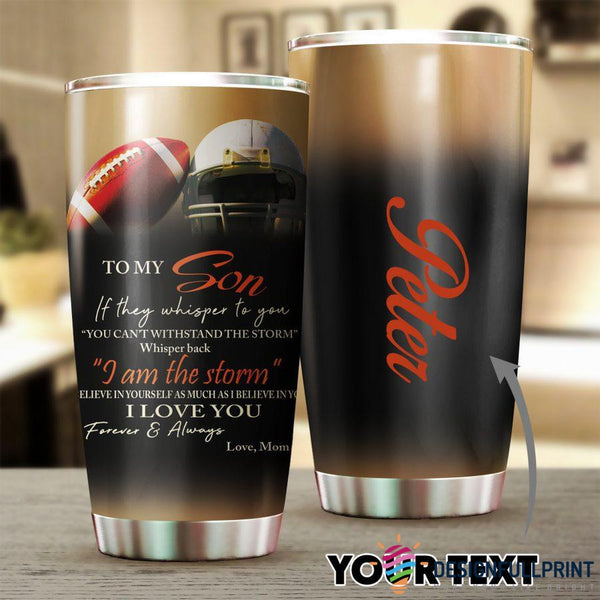 Personalized Football Mom to Son Tumbler