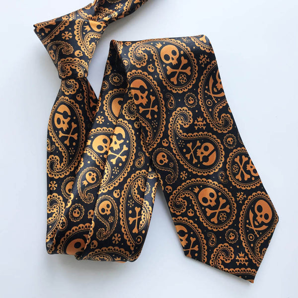Black with Golden Orange Skull Necktie
