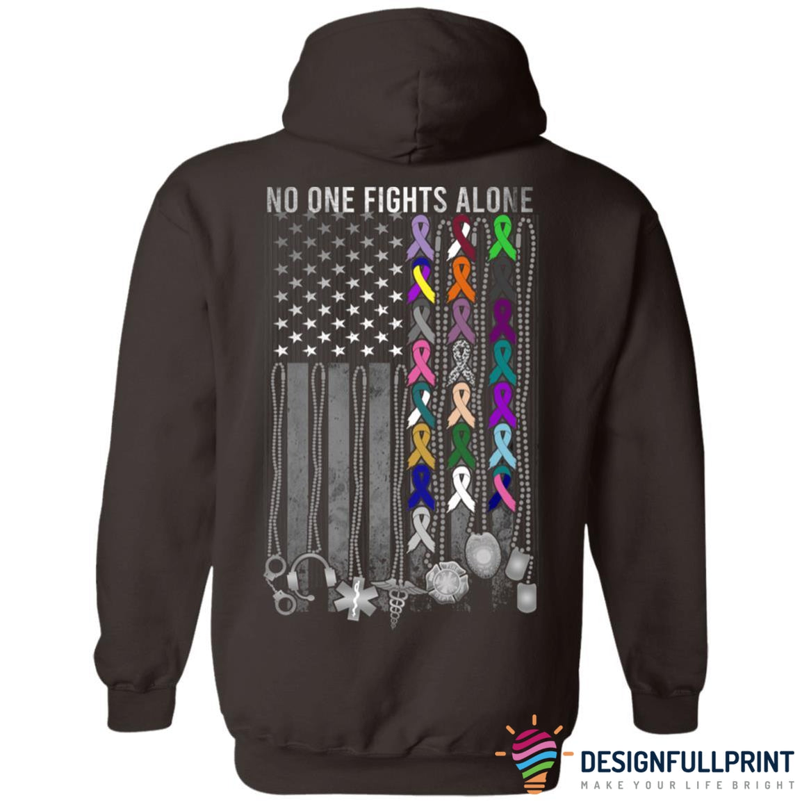 No One Fights Alone Breast Cancer Awareness Back Front Ultra Cotton Shirt