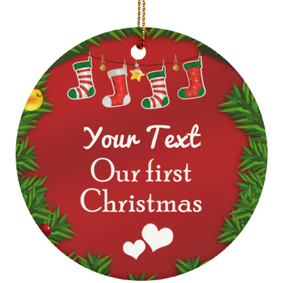 Personalized Ceramic Circle Ornament 2 - designfullprint