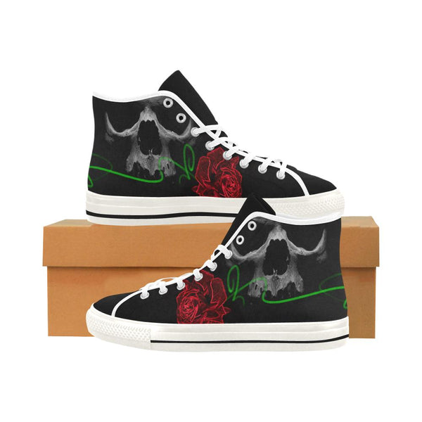 Rose And Green Line Skull High Top Women's Shoes