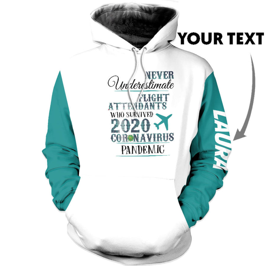 Personalized Flight attendants Teal Social US Unisex Size Hoodie