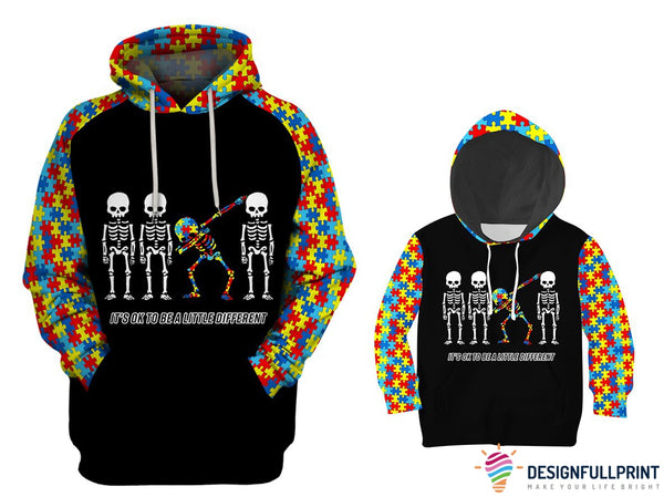 Adult and Kid Autism Awareness Dabbing Skull Hoodies