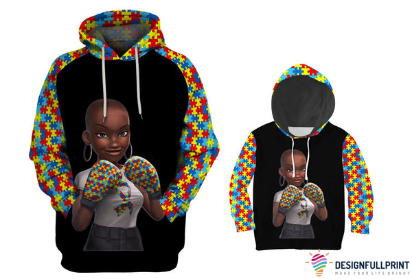 Autism Awareness Melanin Girl Adult and Kid Hoodie