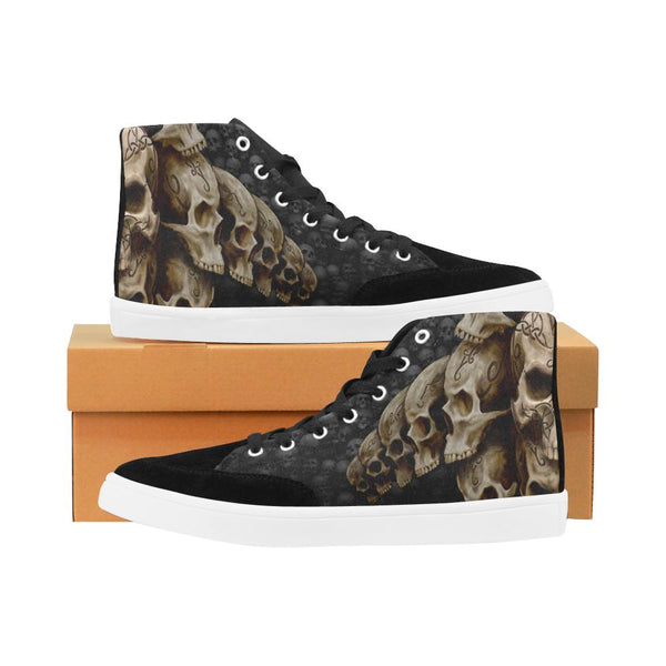 Tribal Skulls Printed Men's Bootes High Top