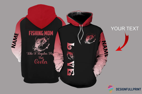 Fishing Mom Red Personalized US Unisex Size Hoodie