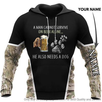 Beer and Dog Personalized US Unisex Size Hoodie