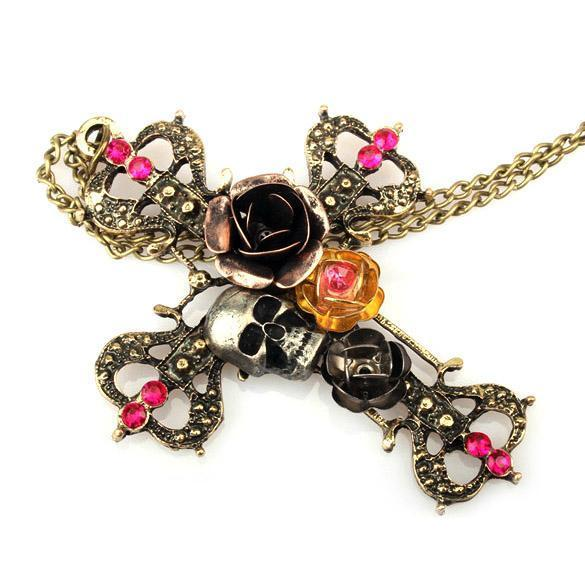 Cross Silvery Skull And Roses Necklaces