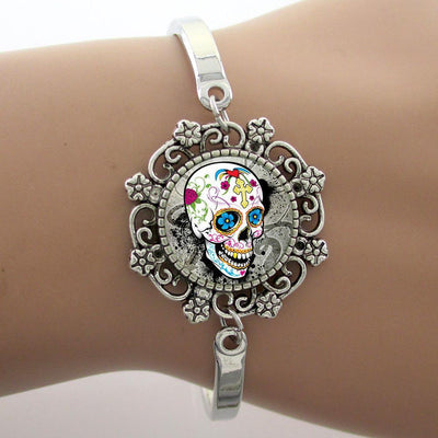 Sugar Skull Glass Dome Lace Bracelet
