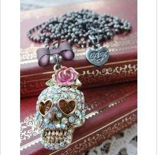 Vintage Rose Skull Necklace - designfullprint