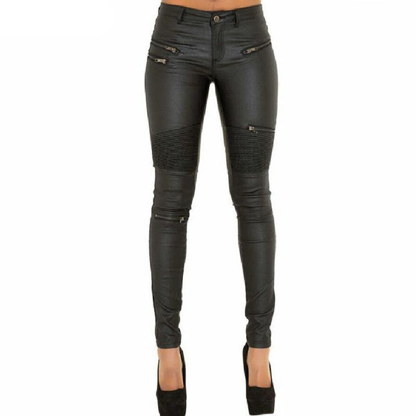 Faux Leather Pants - designfullprint