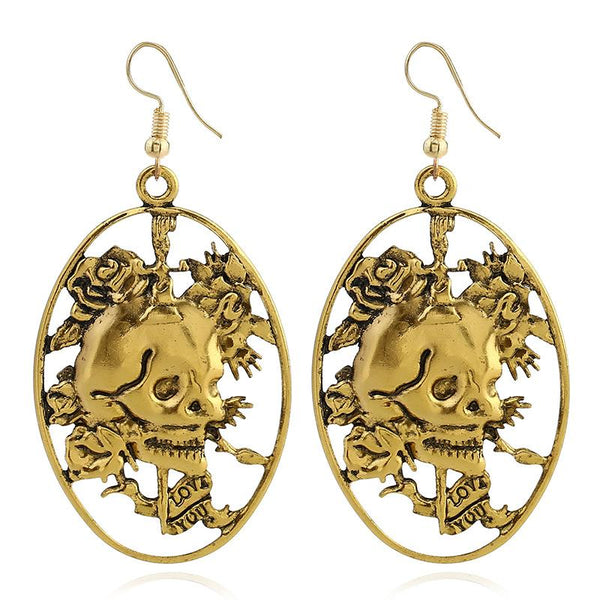 Halloween Floral Skull Drop Earrings