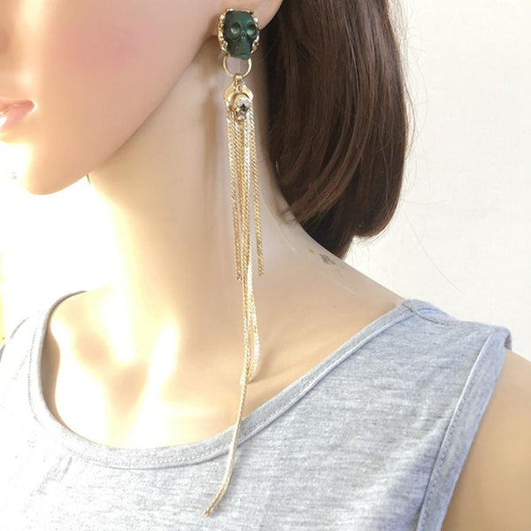 Olive Skull Long Chain Earrings