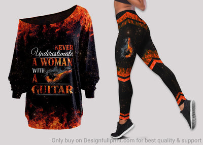 Never Underestimate A Woman With A Guitar  Off Shoulder Long Sleeves Top and Leggings Set