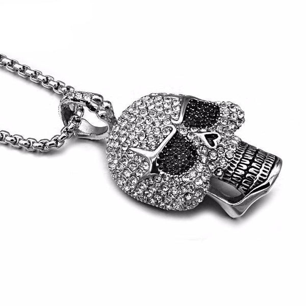 Rhinestone Skeleton Skull Pendant Necklace - designfullprint