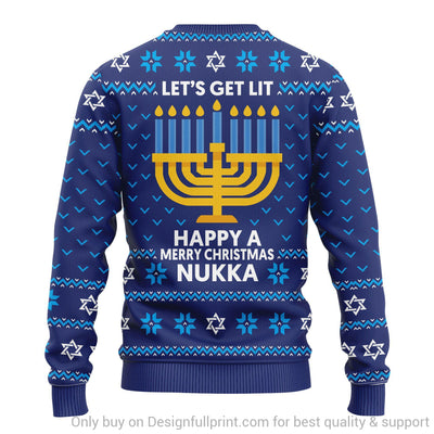 Personalized Lets Get Lit Happy A Merry Christmas NKA Sweater Unisex US Size
