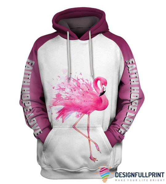 Faith Hope Love Flamingo Ribbon Hoodie