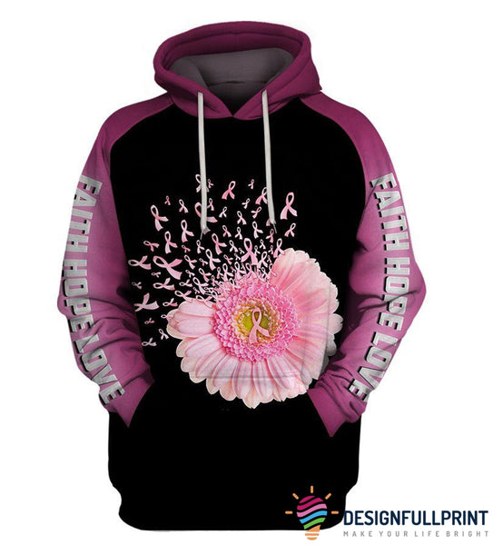 Faith Hope Love Flower Ribbon Hoodie