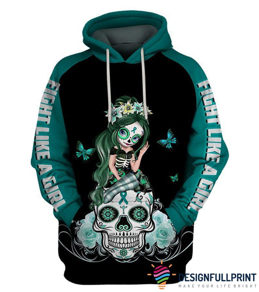 Teal Ovariant Cancer Sugar Skull Girl Awareness Hoodie