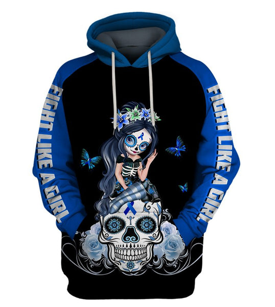 Blue Colon Cancer Sugar Skull Girl Awareness Hoodie