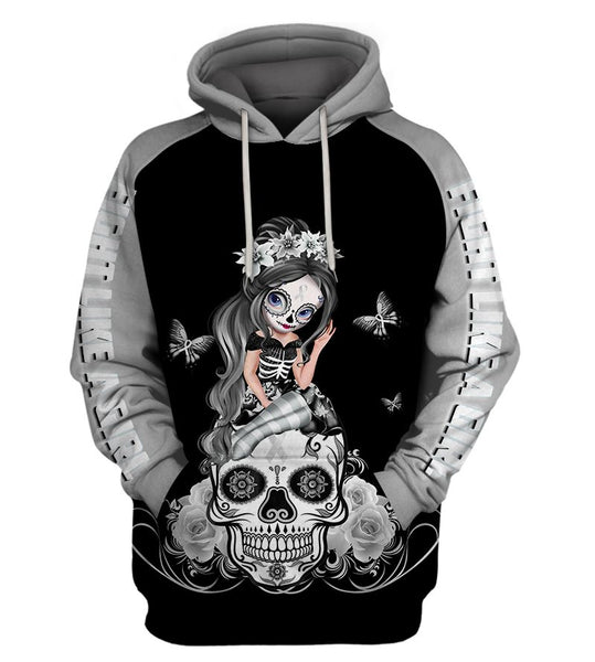 Silver Lung Cancer Awareness Sugar Skull Girl Hoodie