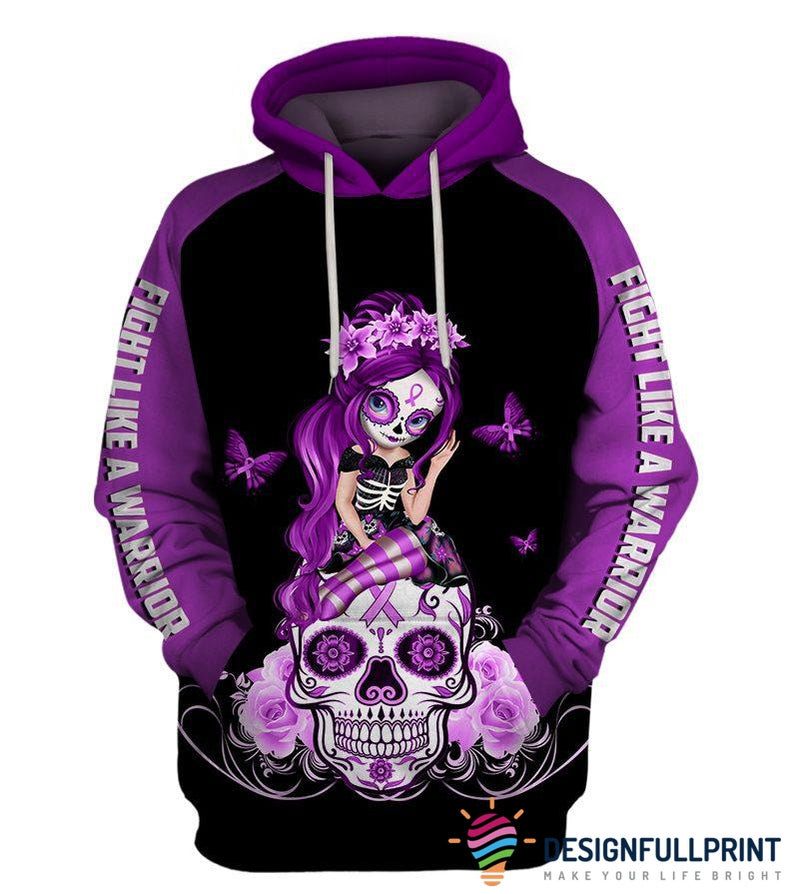 Fight Like A Warrior™ Hot Purple Lupus Sugar Skull Girl Awareness Hoodie
