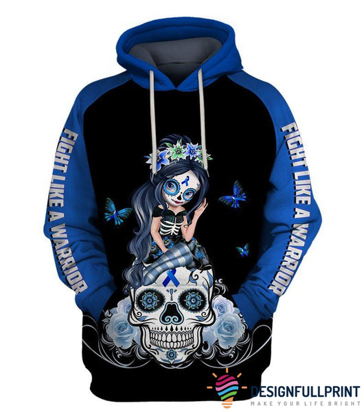 Fight Like A Warrior™ Blue Colon Cancer Sugar Skull Girl Awareness Hoodie