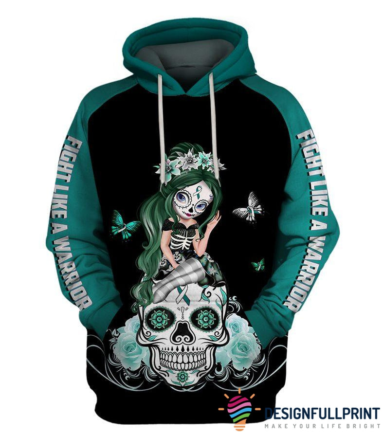 Fight Like A Warrior™ White Teal Cervical Cancer Sugar Skull Girl Awareness Hoodie