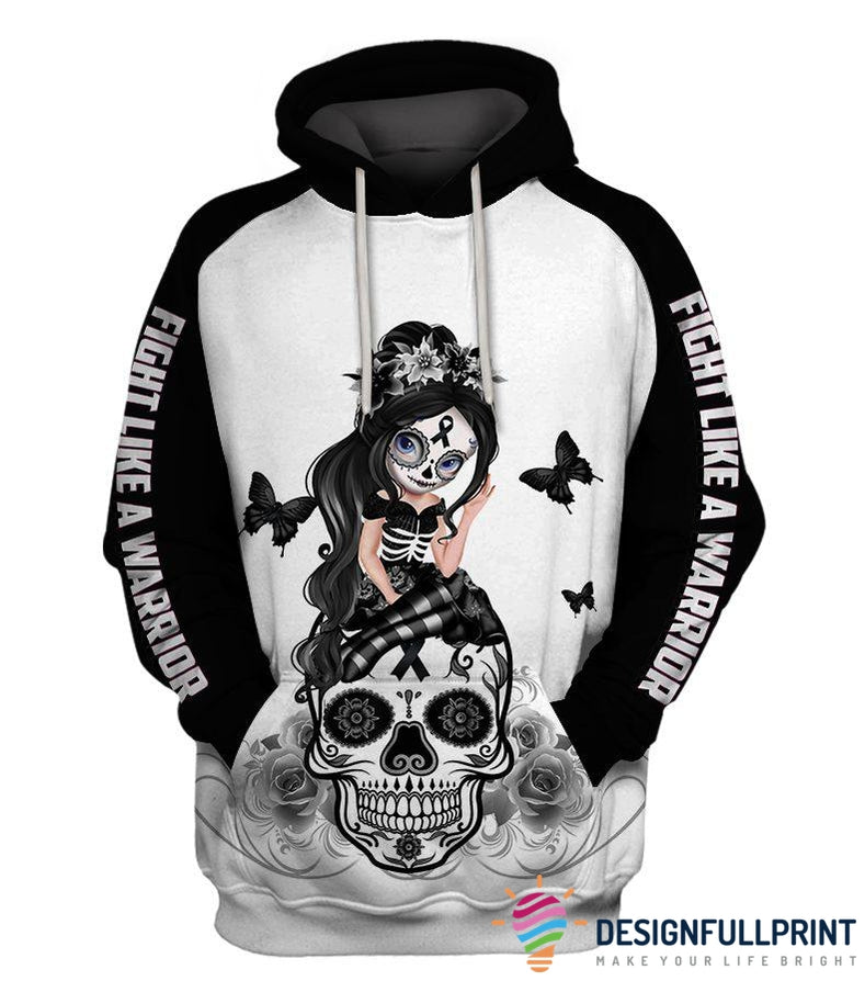 Fight Like A Warrior™ Black Menaloma Skin Cancer Sugar Skull Girl Awareness Hoodie